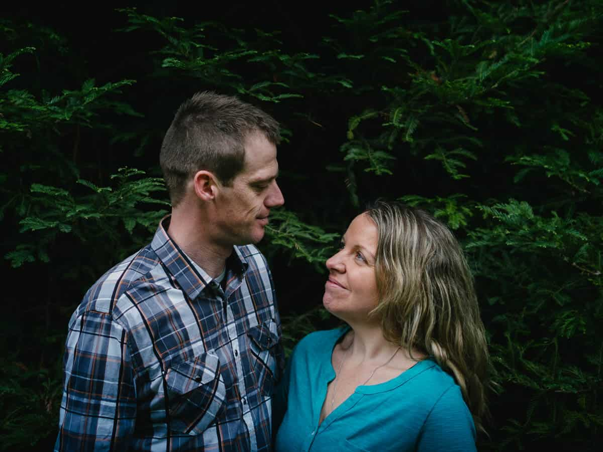 Couple portrait at the redwood plantation in the Otways
