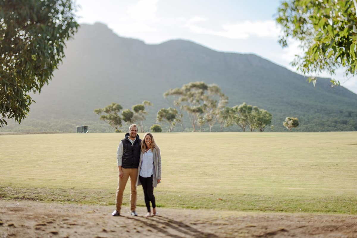 Couple stood in front of Dunkeld mountain