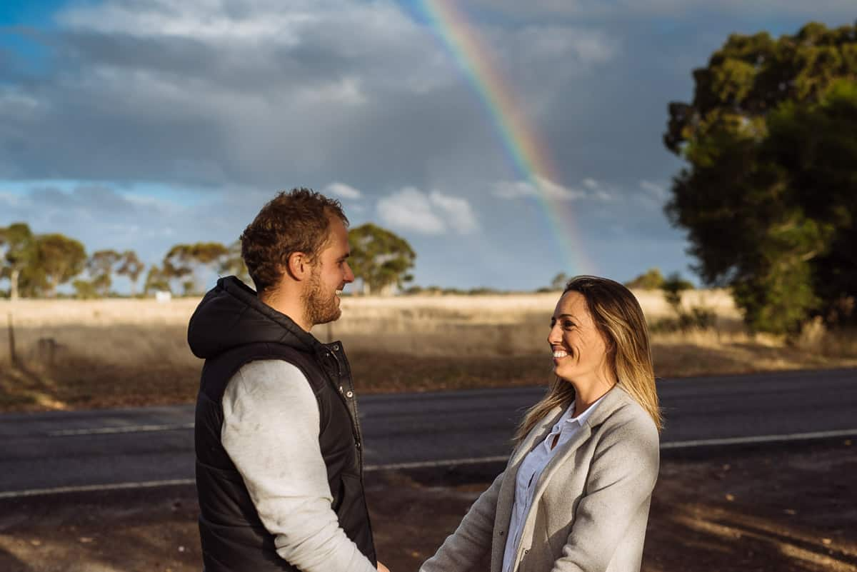 Dunkeld engagement photo with a rainbow