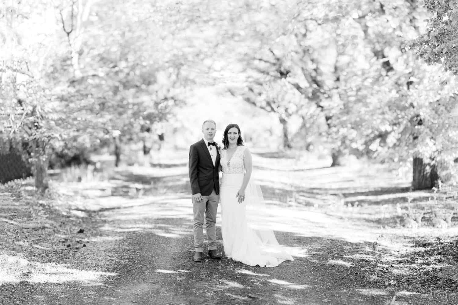Wedding portrait on the driveway at Narmbool