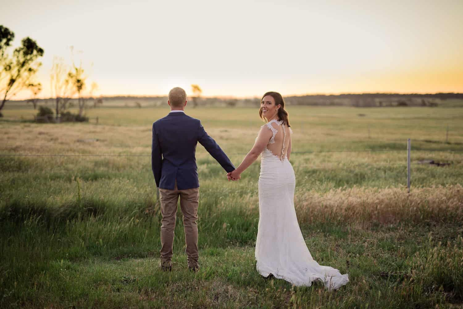 Bride and Groom at Sunset at Narmbool Wedding