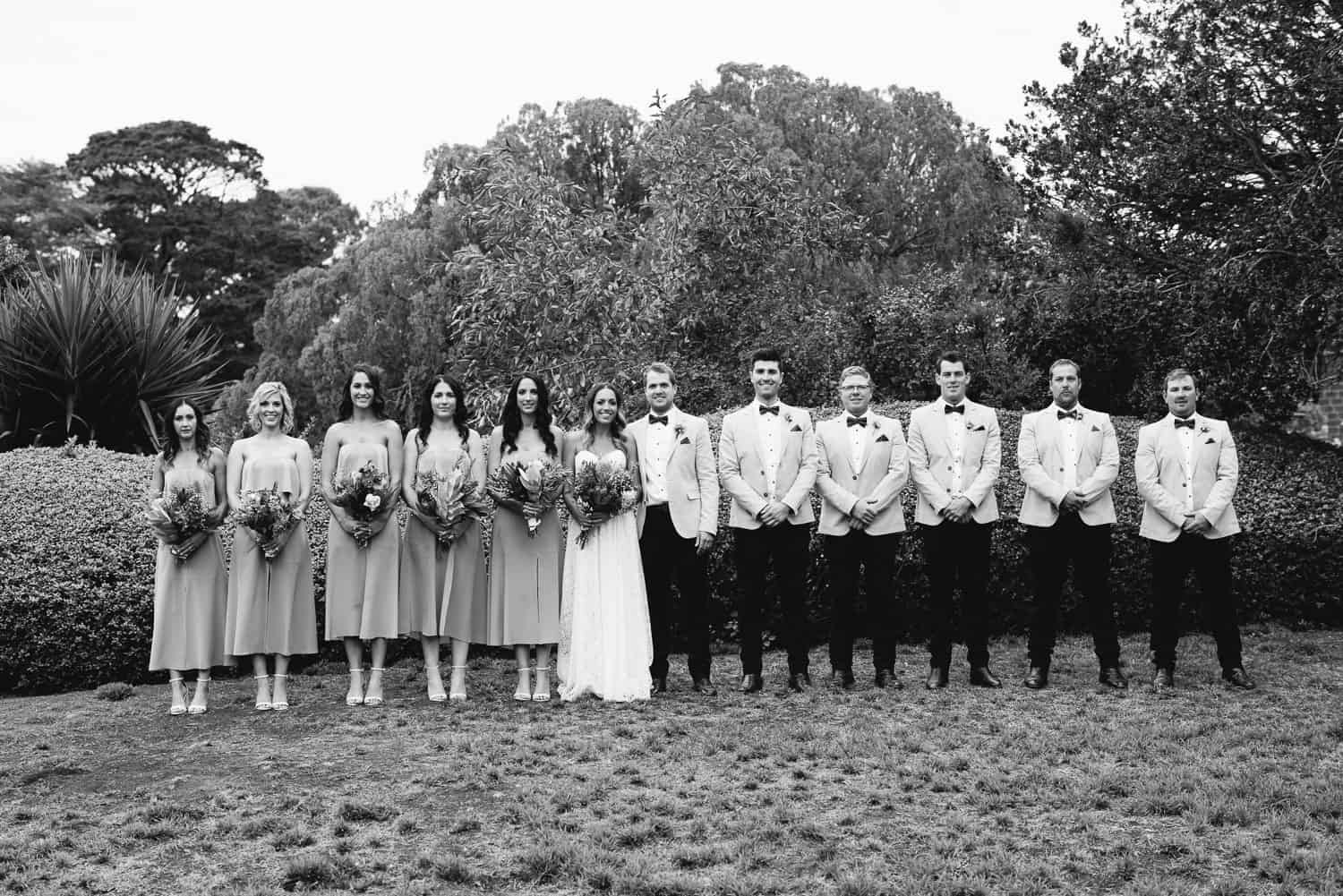 Bridal party in Chatsworth house's gardens
