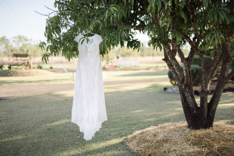 Wedding dress hung from a tree in Emerald in Queensland
