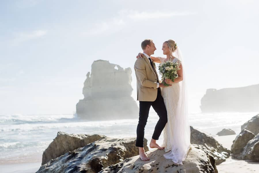 Bride and groom in front of the Twelve Apostles near the Great Ocean Road