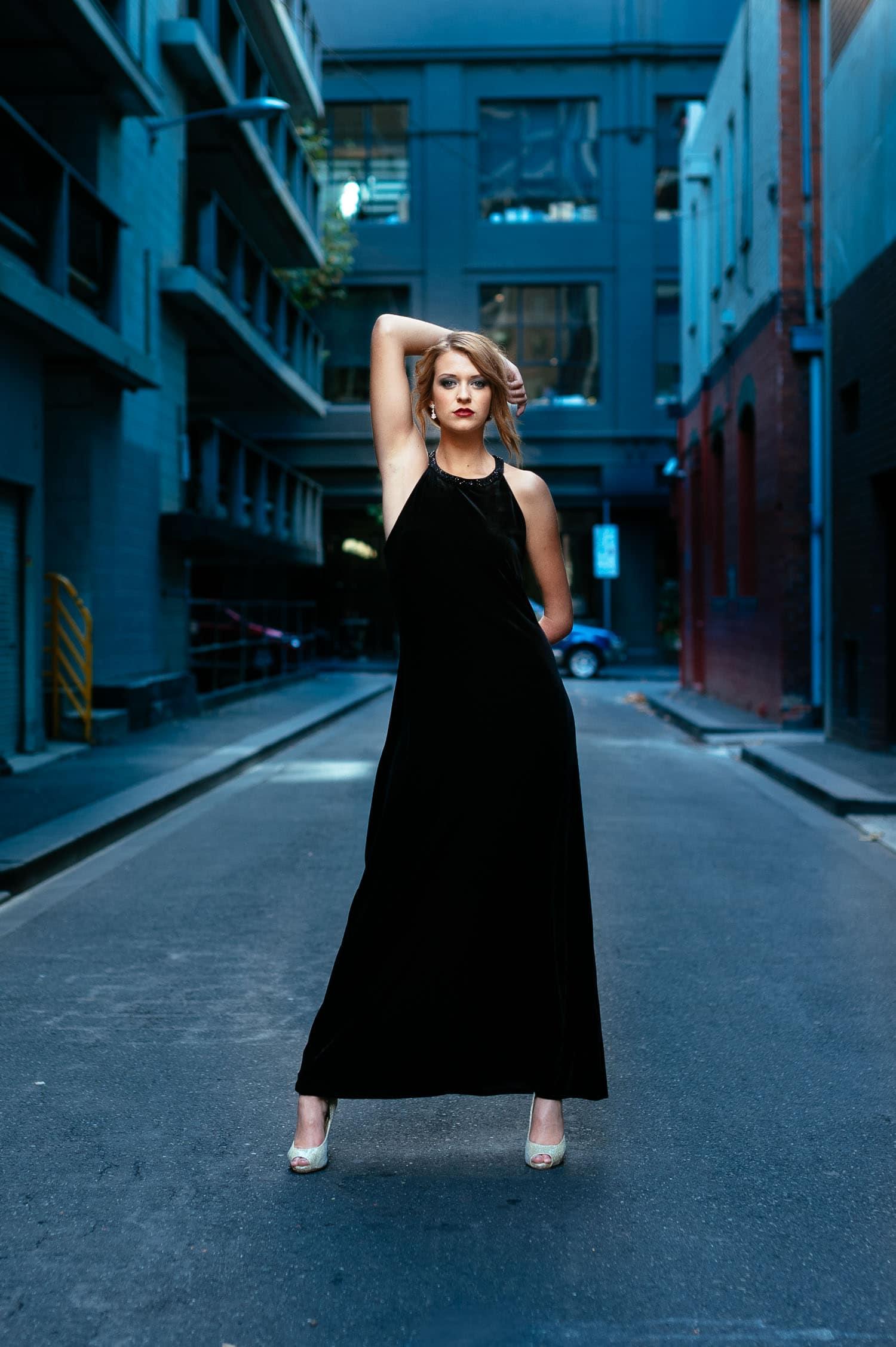 Model posing in Melbourne alleyway