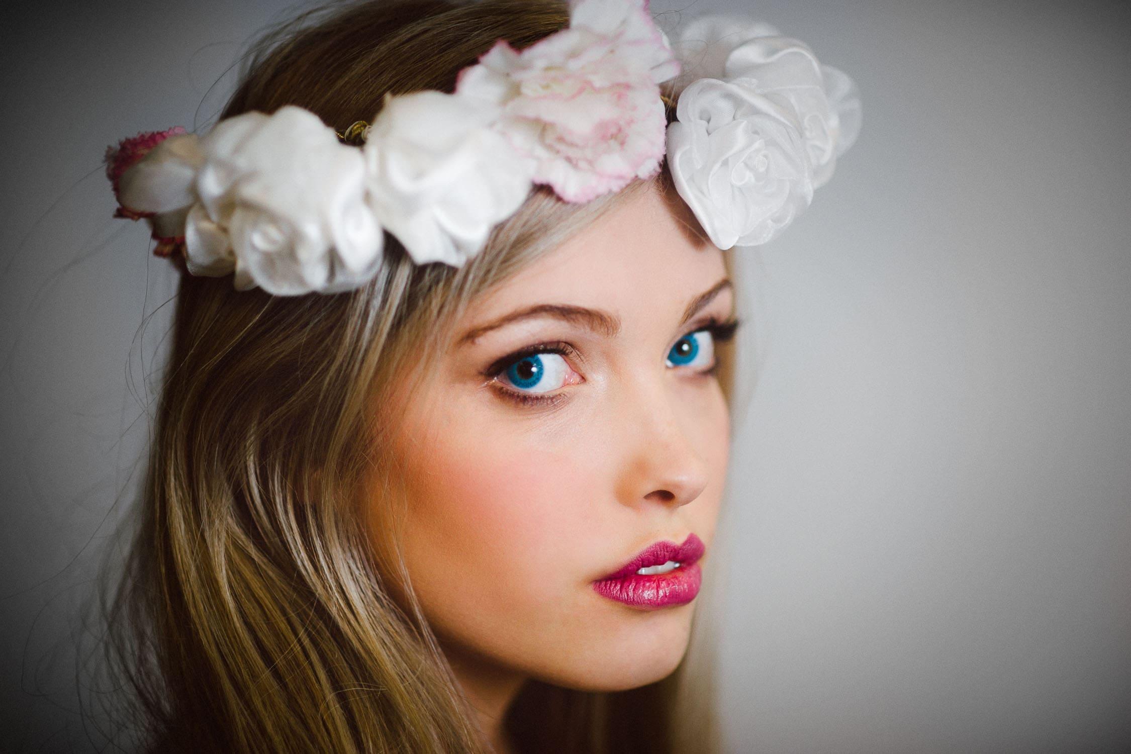 Portrait of blue eyed model