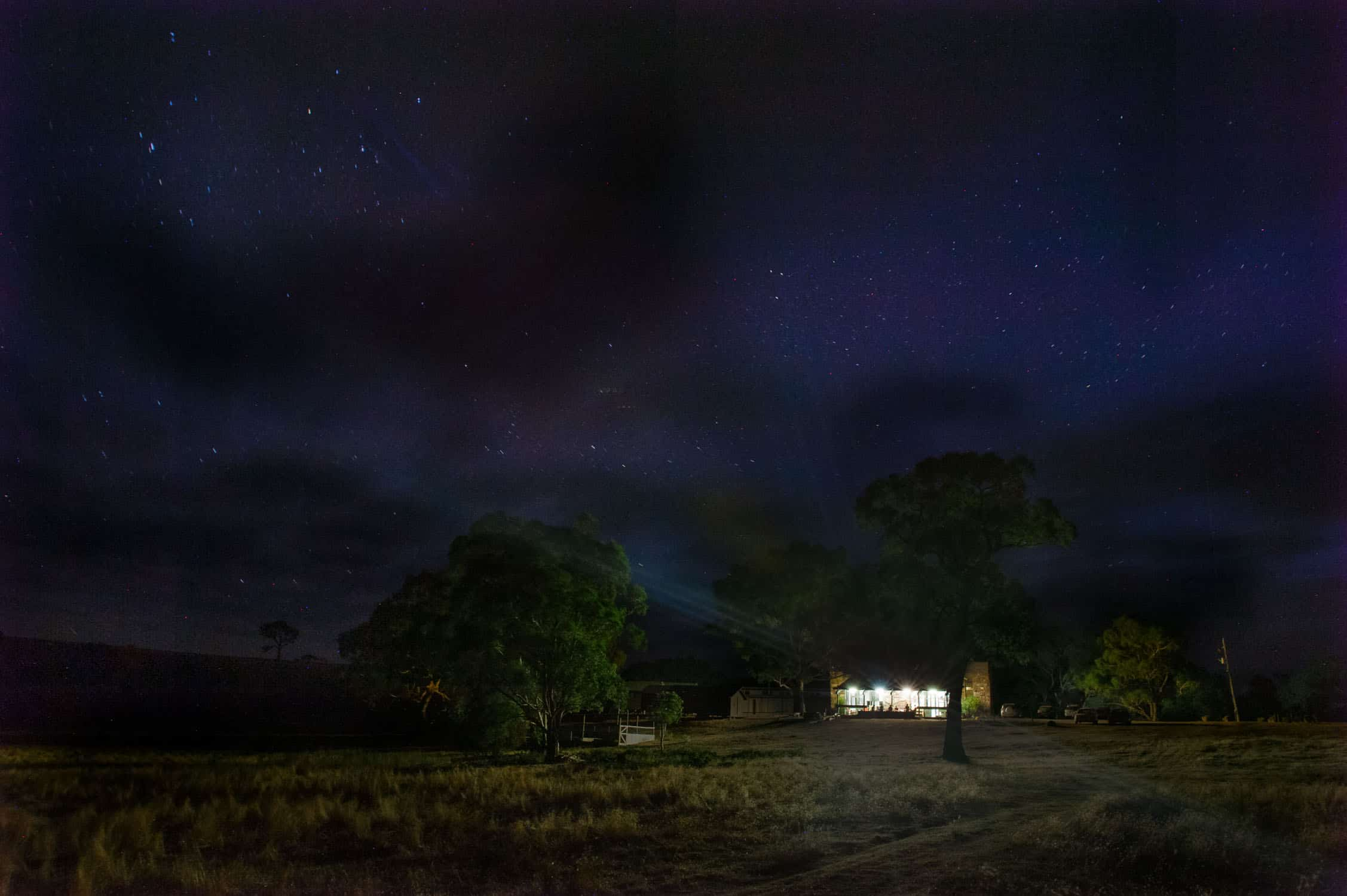Rural property at night