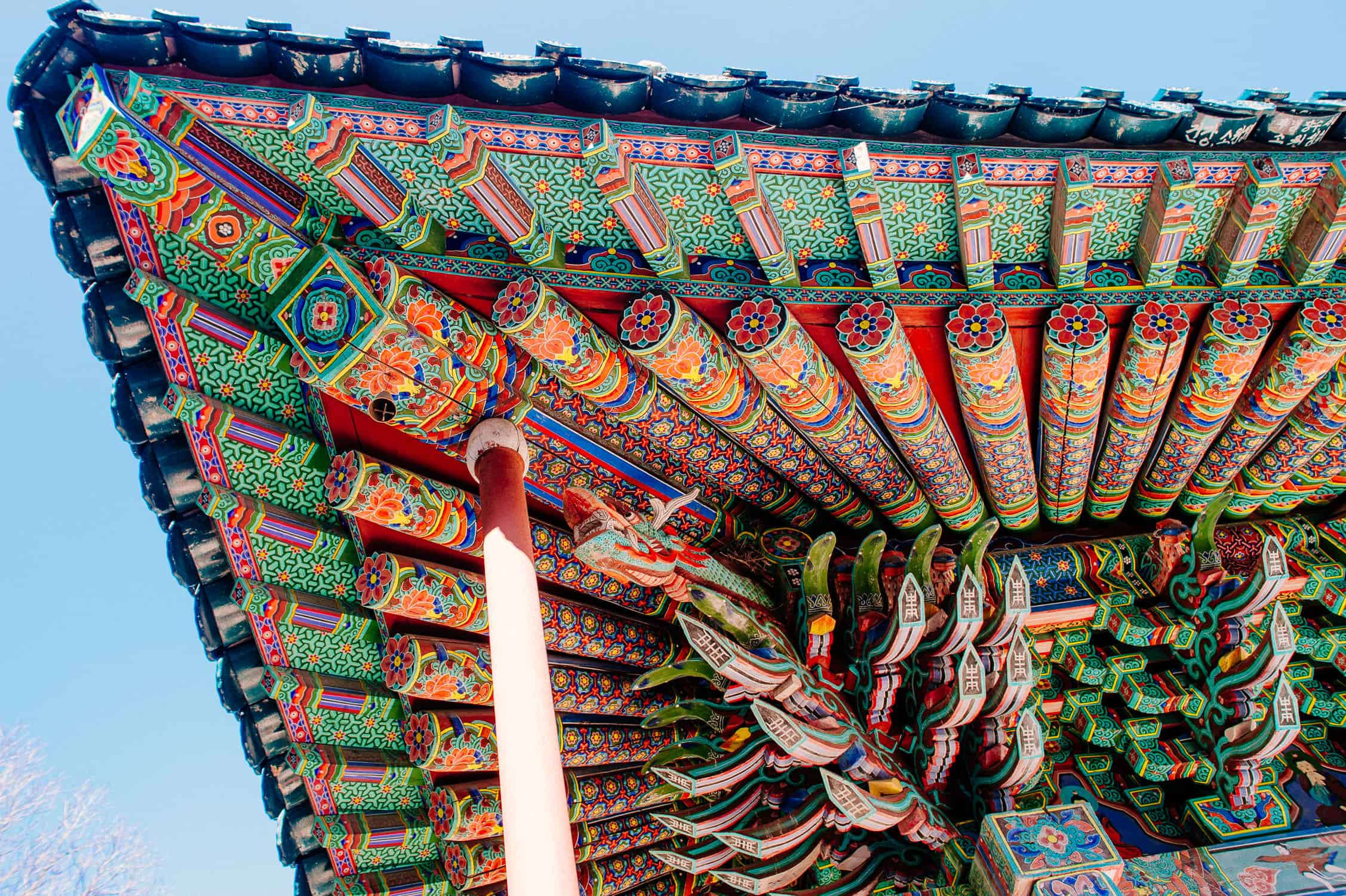 A Korean Temple roof from the underside