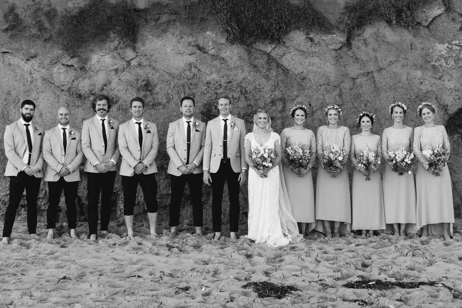 Bridal party on the beach at Gibson's Steps