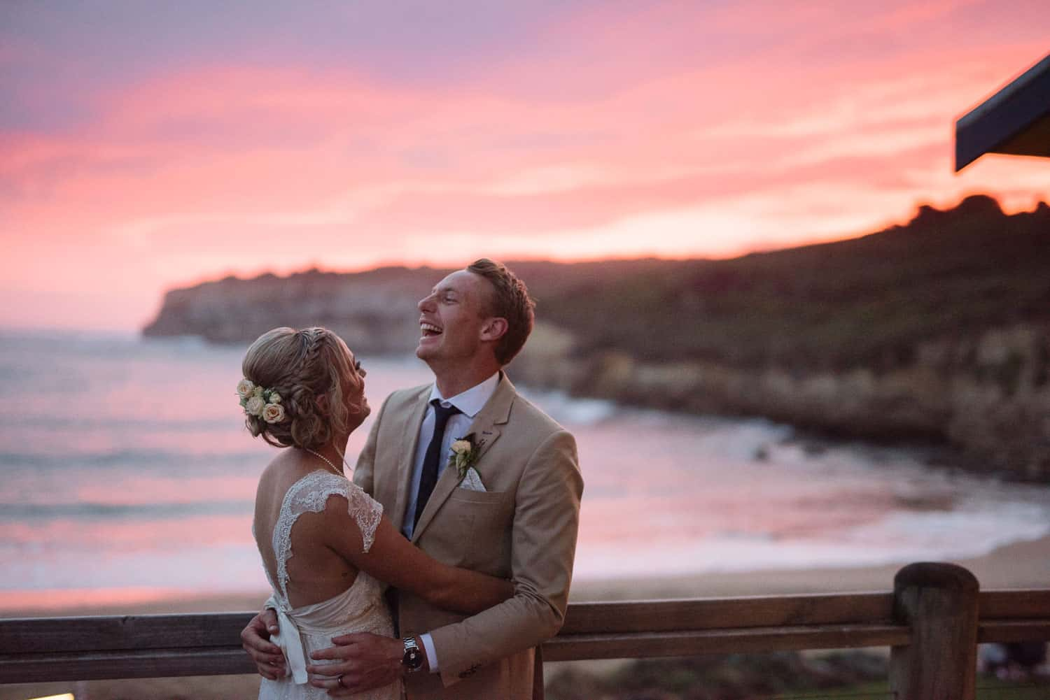 Port Campbell sunset portrait of bride and groom