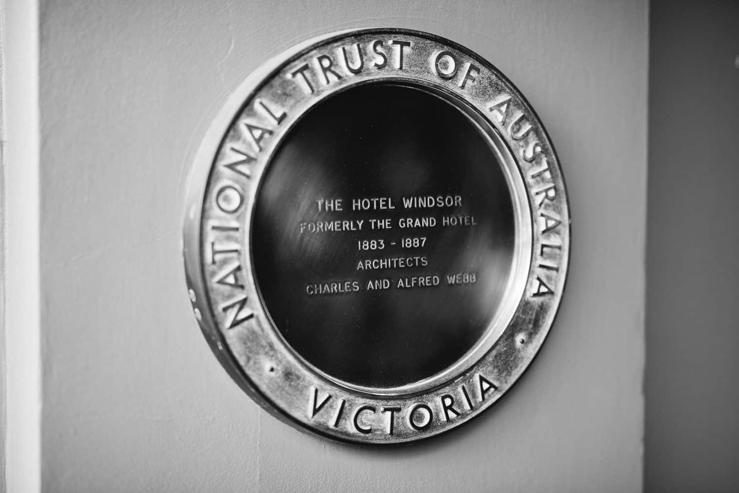 Sign outside the Hotel windsor Melbourne