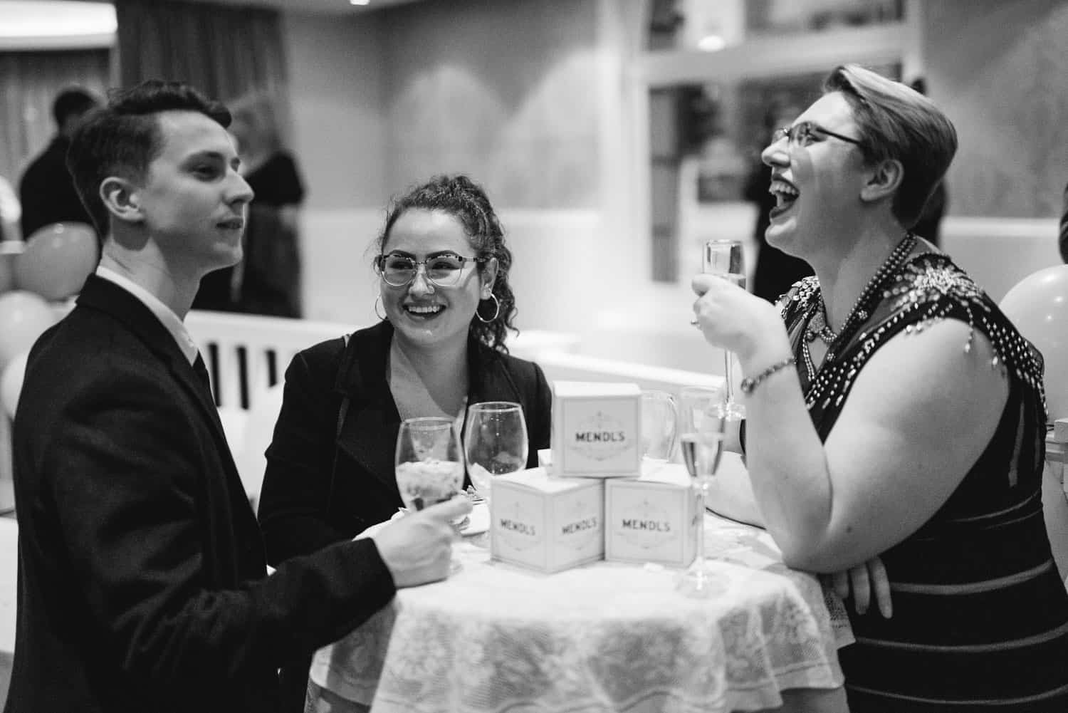 Laughing guests at Mendl's