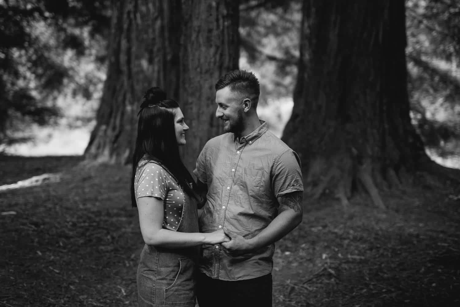 Chelsea and Luke during their engagement session at the Redwood Plantation