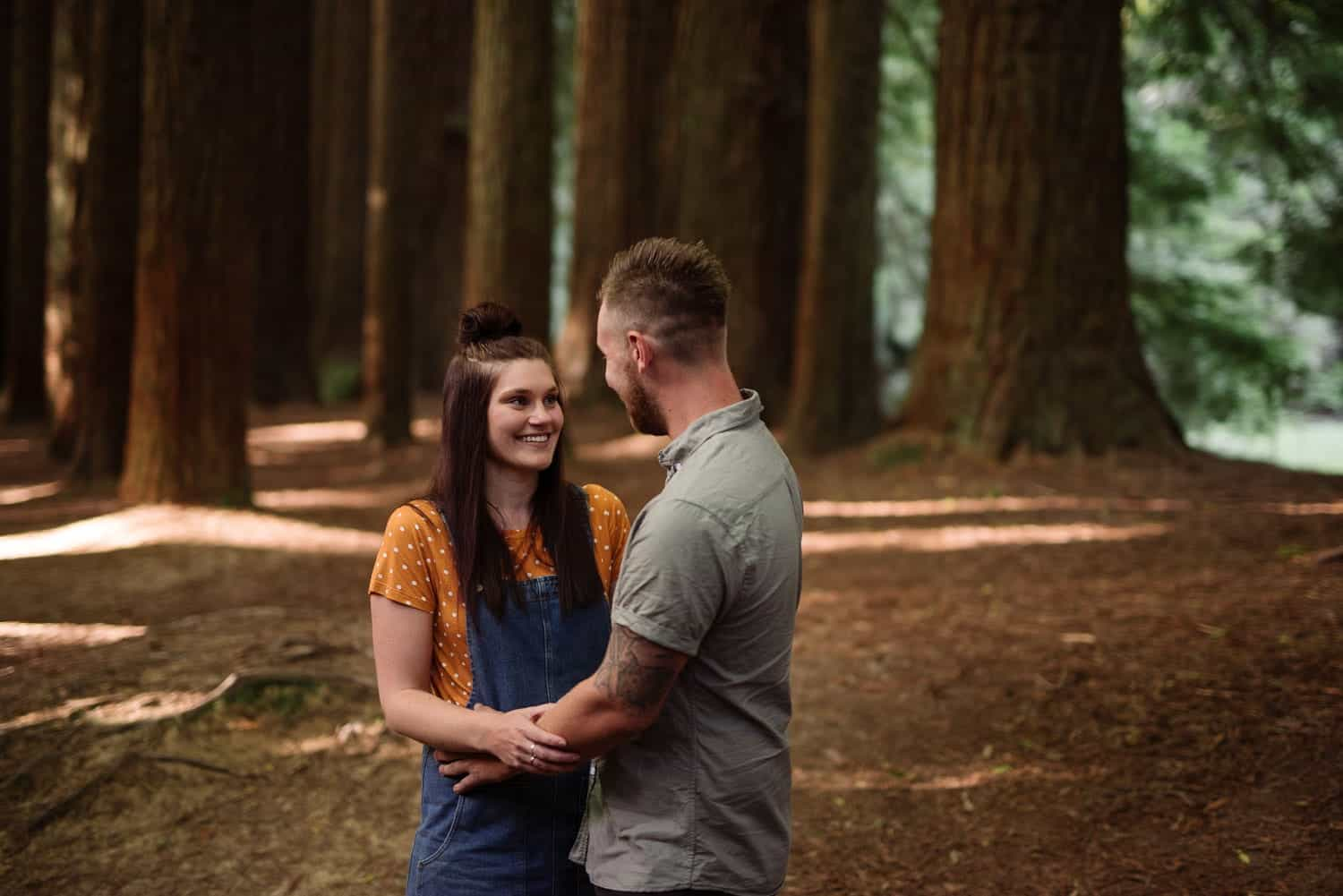 Redwood engagement photograph of Chelsea and Luke amongst Redwood trees
