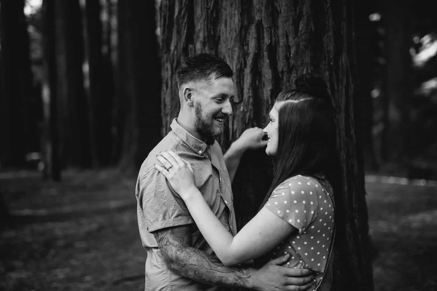 Chelsea and luke's engagement session at the Redwoods