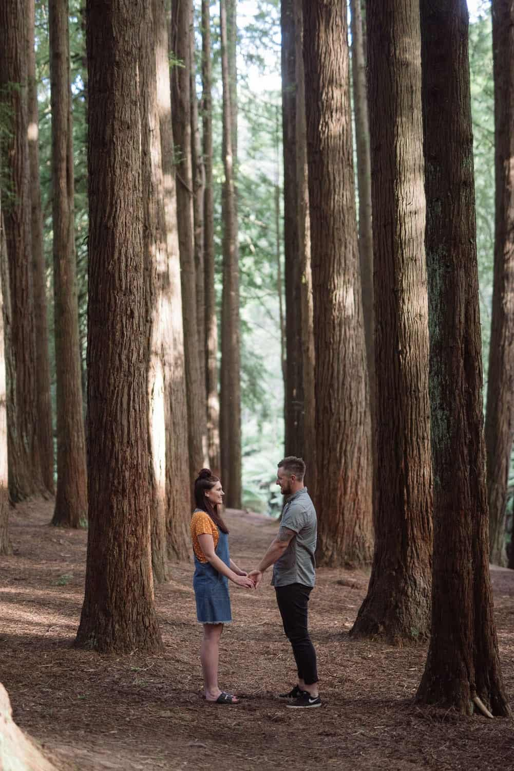 Engaged couple holding hands at the redwood plantation in the Otways