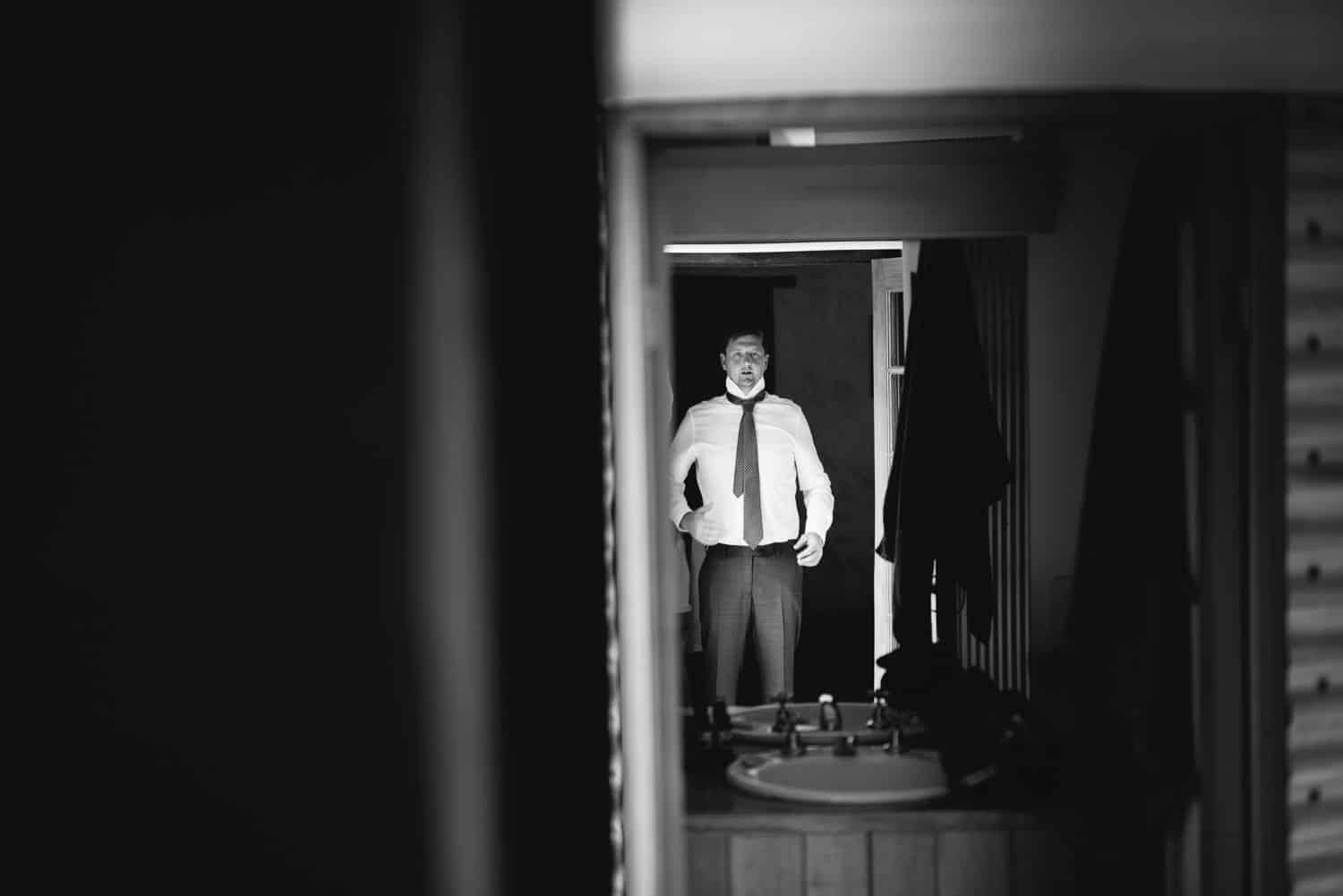 Groom preparing for his wedding in Dunkeld