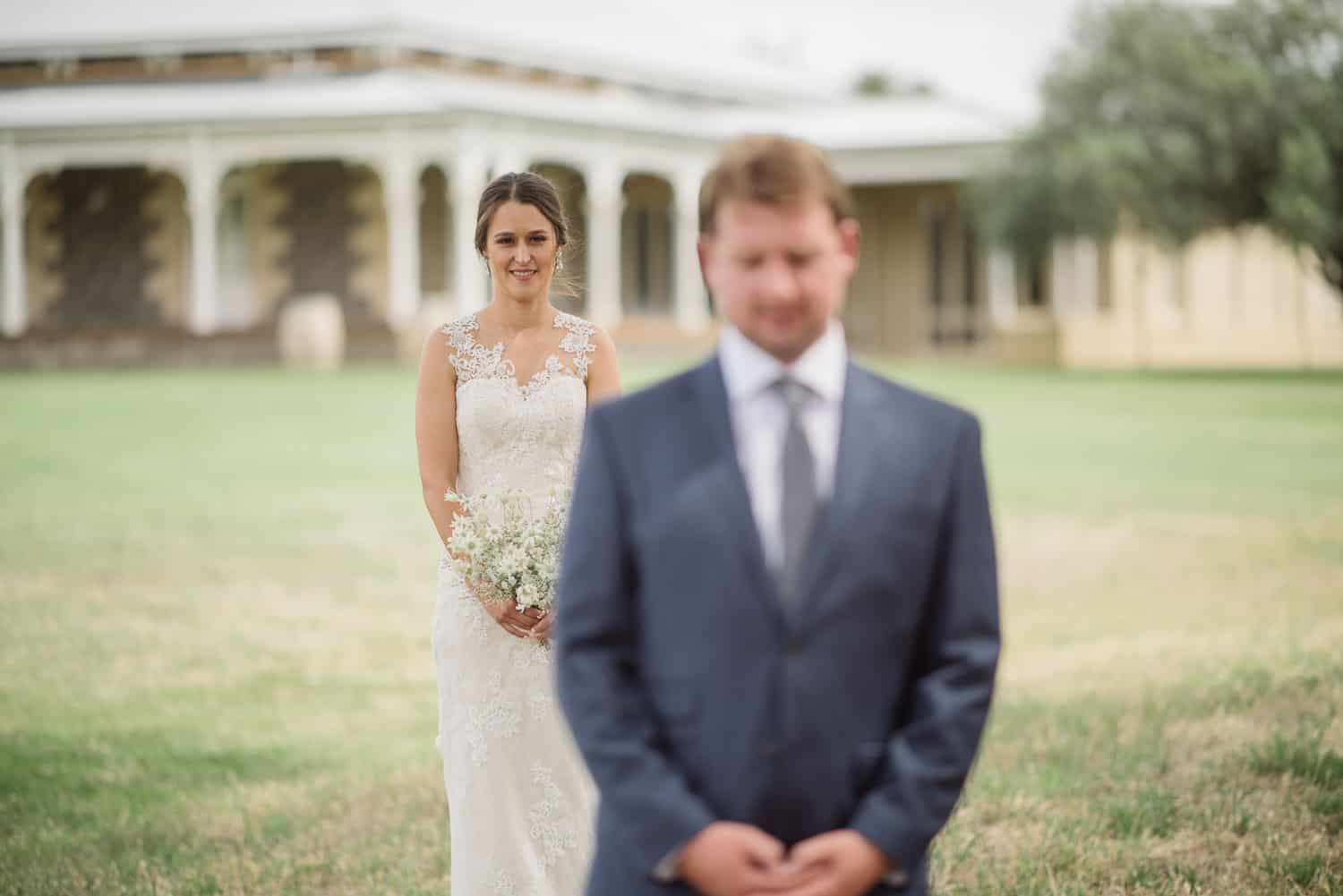 Bride and groom's first look at Mt Sturgeon Homestead