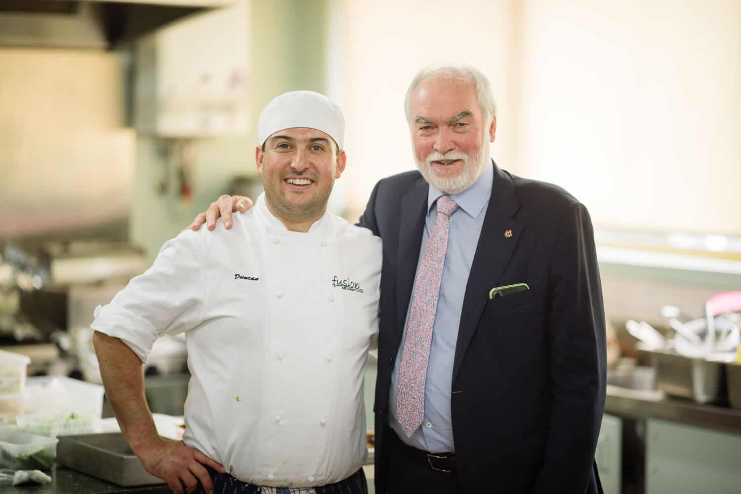 John Verrall and a chef