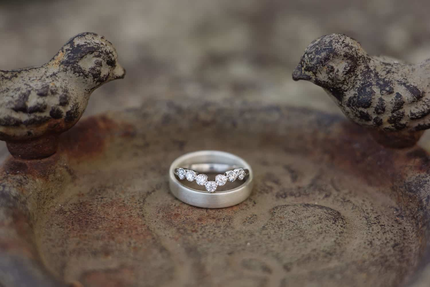 Wedding ring in a birdbath