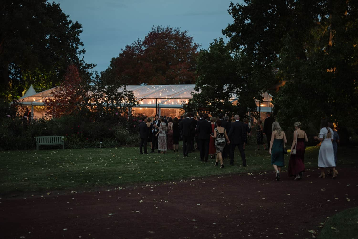 Reception venue in Branxholme at dusk