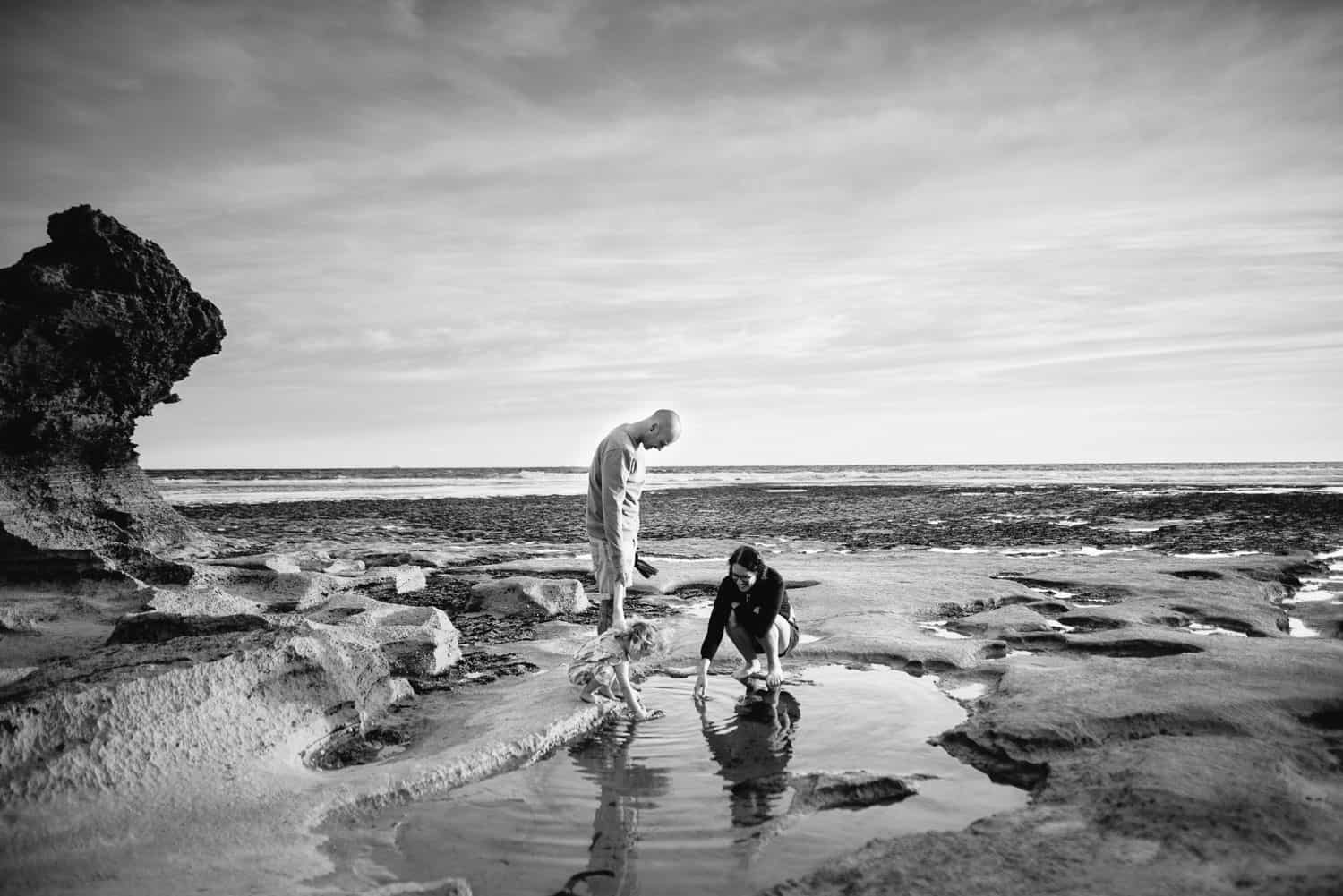 Family play in rockpool near Point Lonsdale