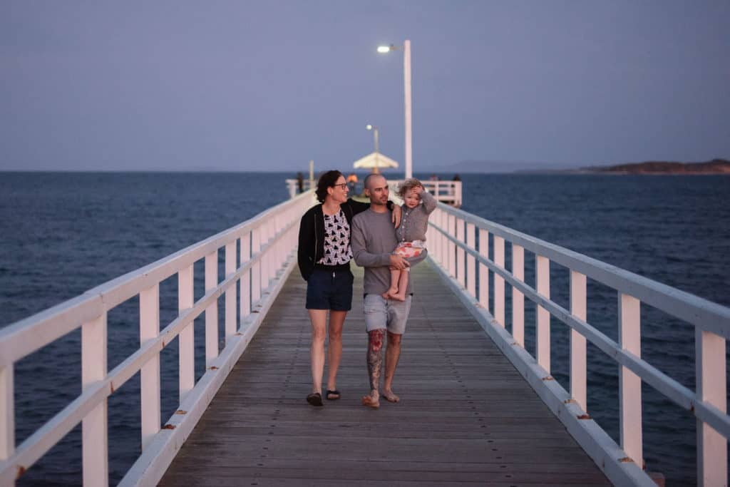 Family walk on Point Lonsdale Pier