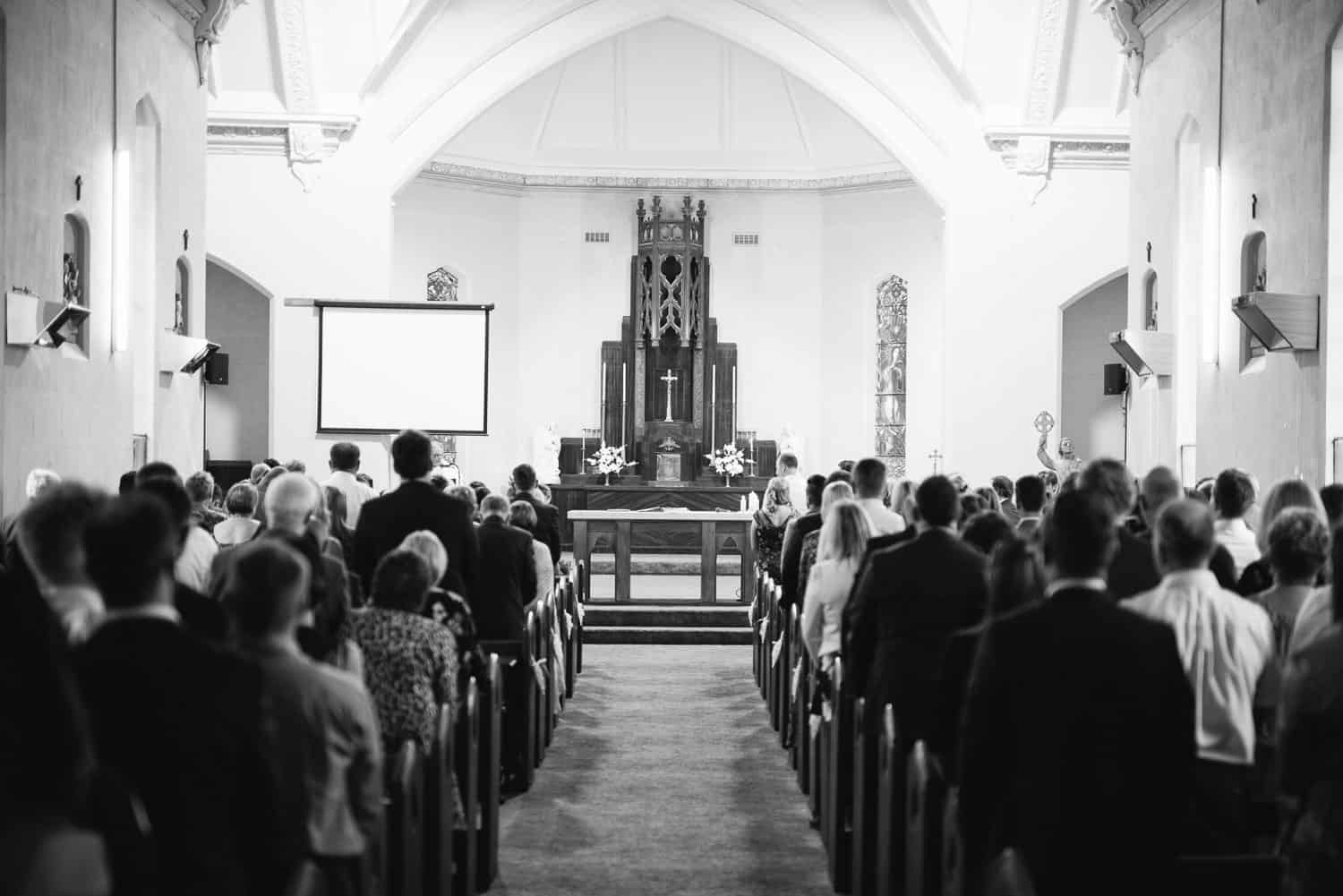 View down the aisle at St Brendan's Red Rock