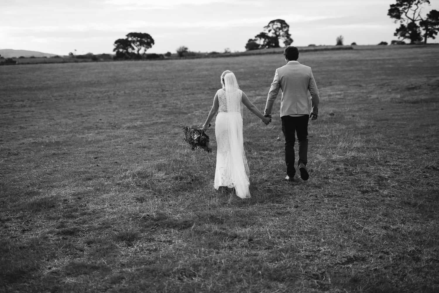Wedding photo at sunset near Colac