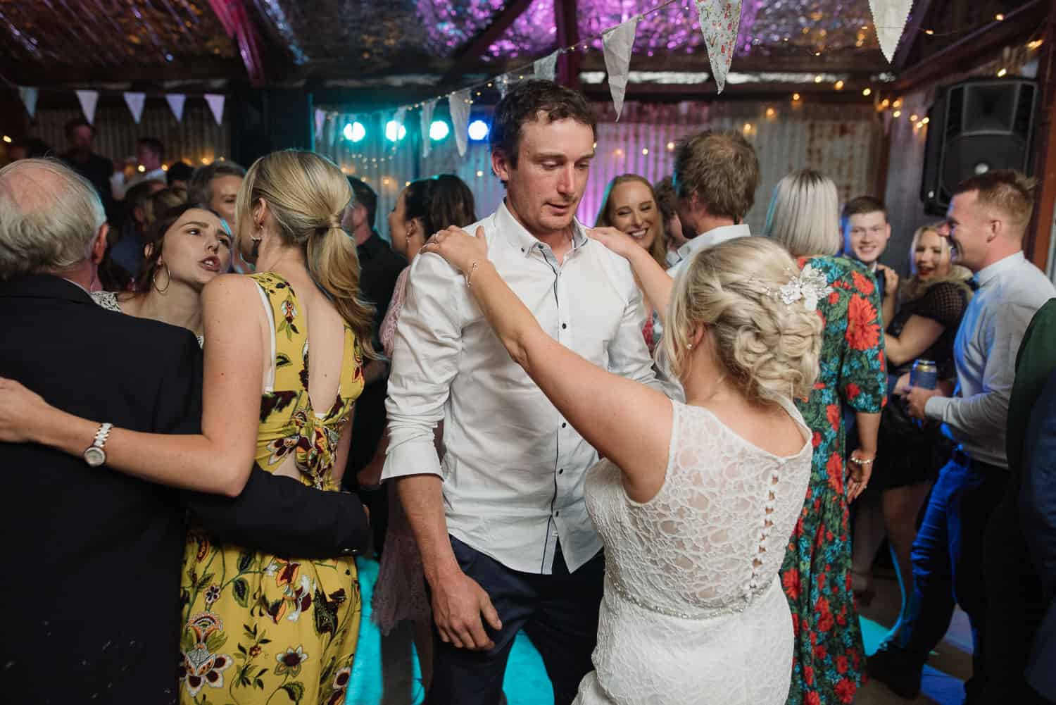 Ali and Sam on the dancefloor at their wedding