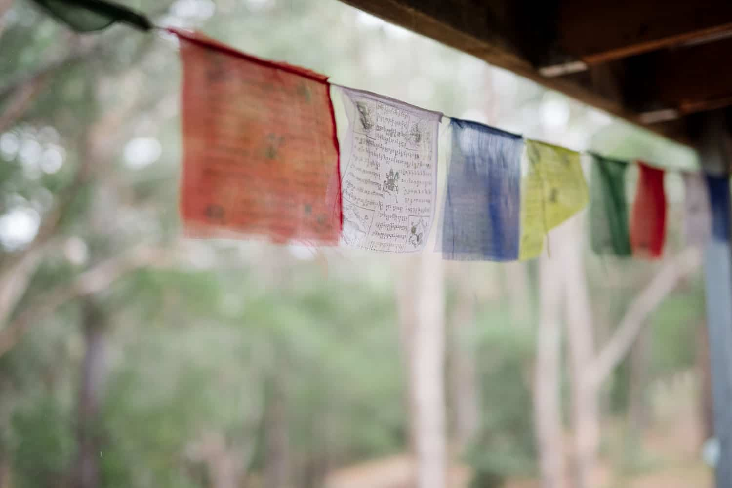 Prayer flags at Sokil Arts Eco Retreat in the Otways