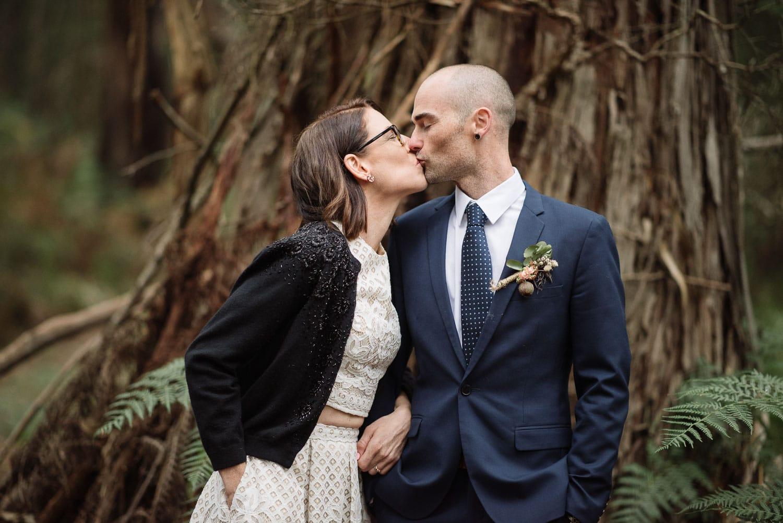 Bride and Groom kiss at Sokil