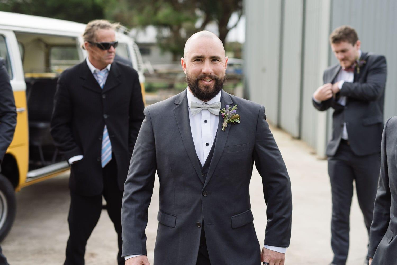 Groom just before he gets married in Warrnambool