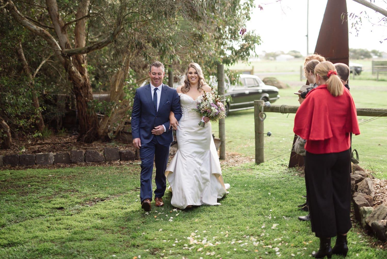 Bride enters wedding ceremony