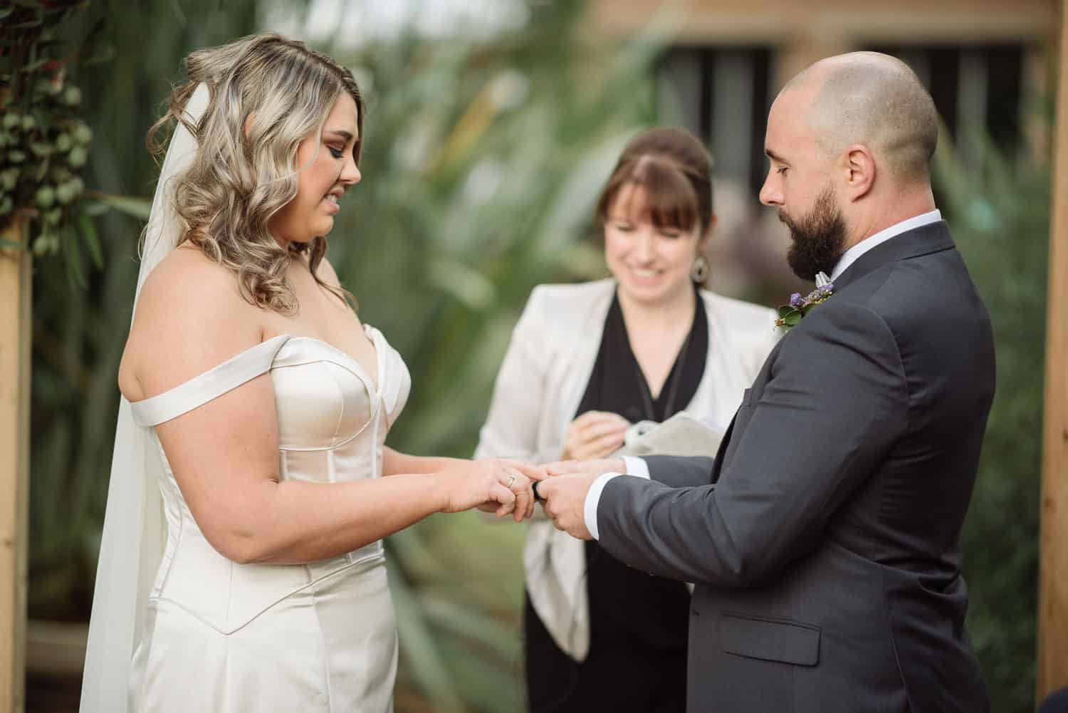 Exchanging wedding rings at a Warrnambool wedding