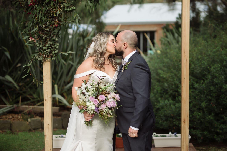 First kiss at a Warrnambool wedding