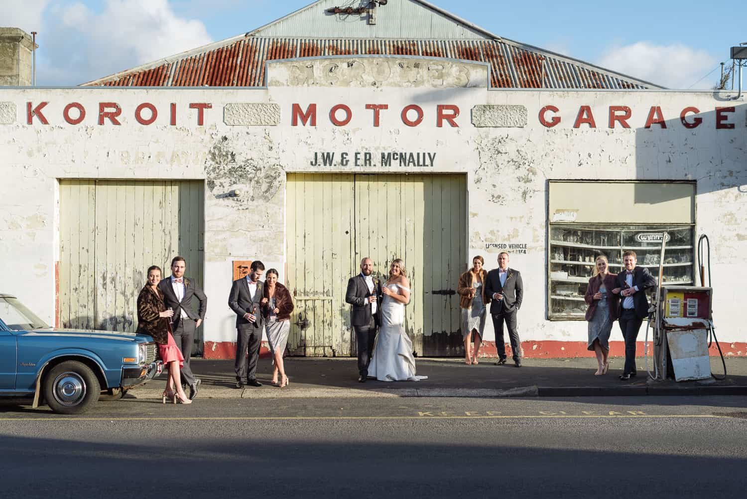 Koroit Motor garage wedding portrait