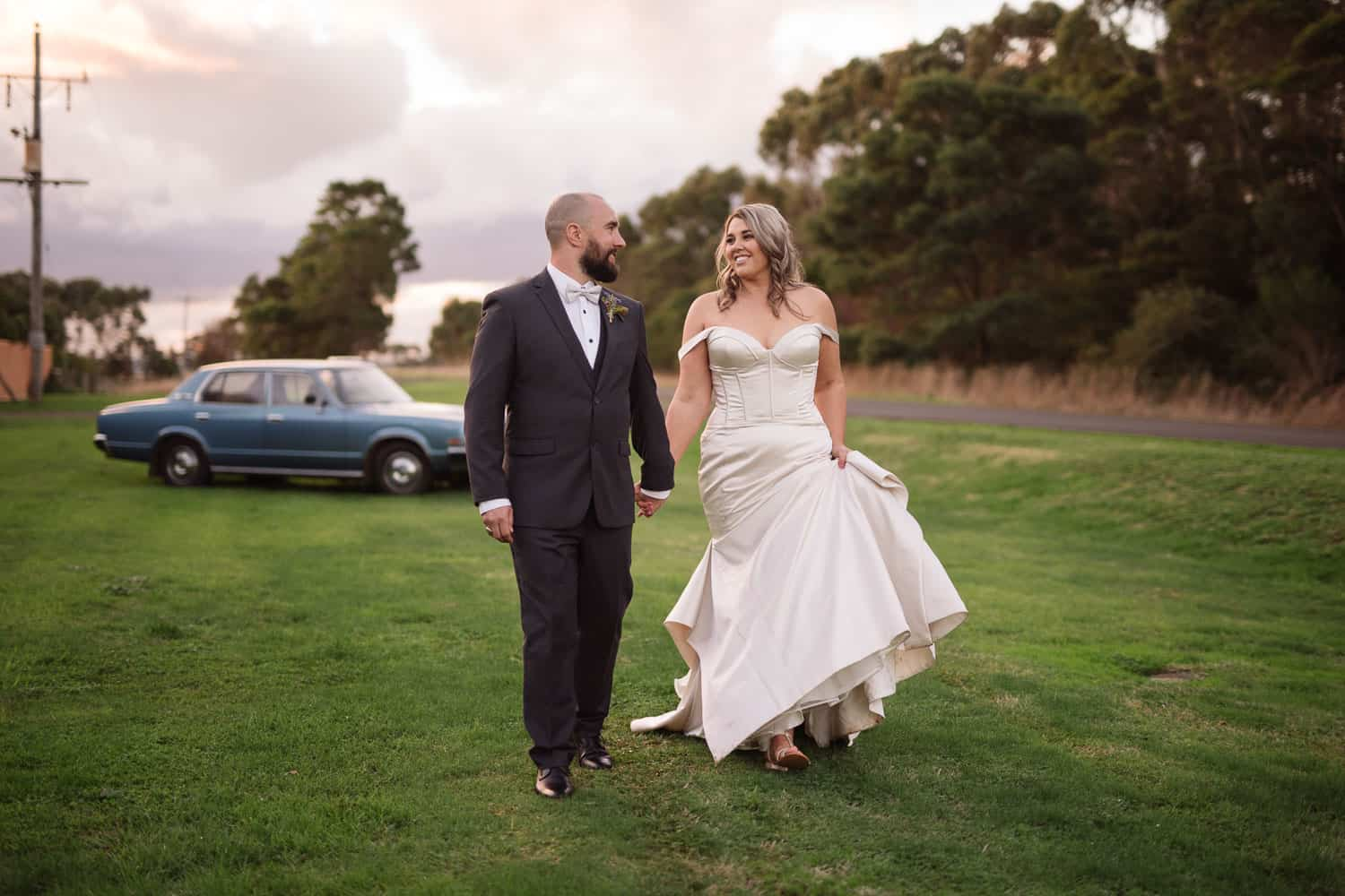 Bride and groom portraits in Warrnambool in golden hour