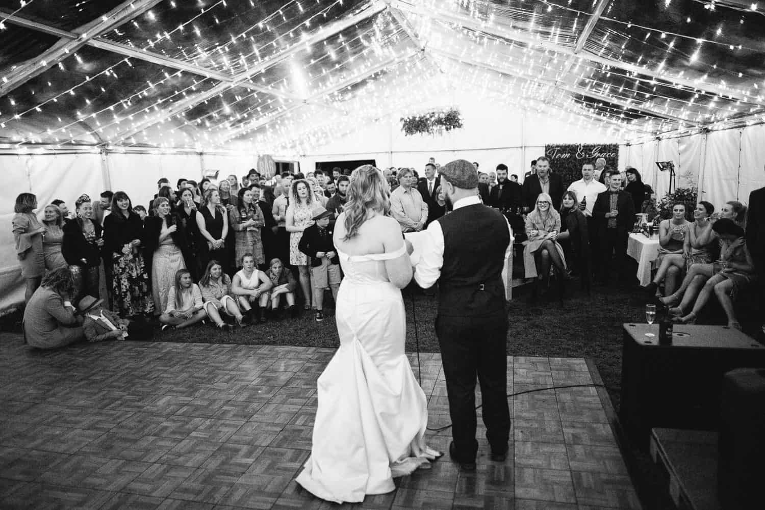 Bride and Groom deliver speech at their reception