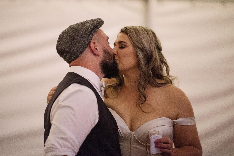 Bride and Groom Kissing in Koroit