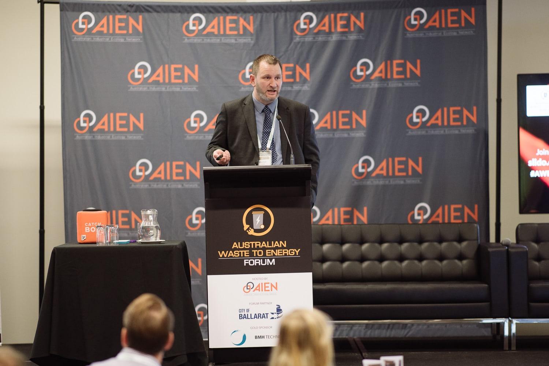 Darren Perrin speaking at AIEN conference in Ballarat