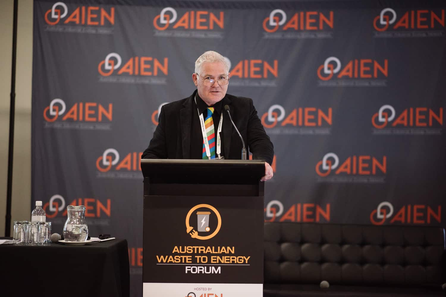 Colin Barker speaking at AIEN conference
