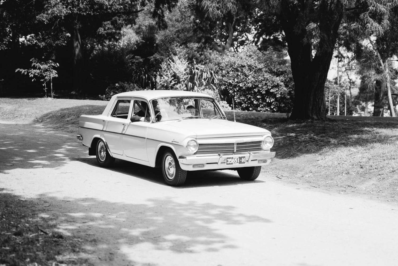 wedding car in colac botanic gardens