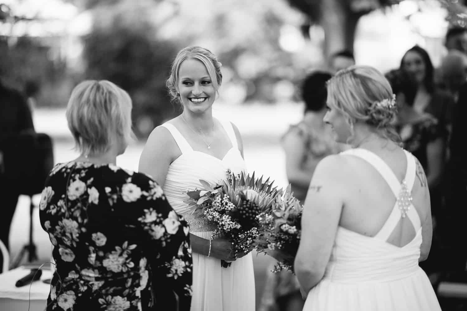 Bride smiling during her wedding in Colac Botanic Gardens