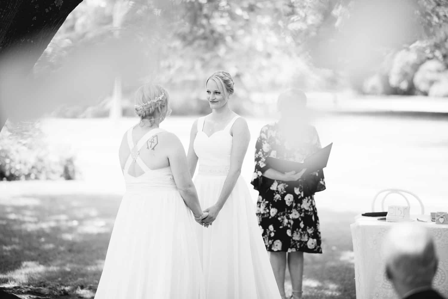 Same sex wedding two brides in Colac's botanic gardens