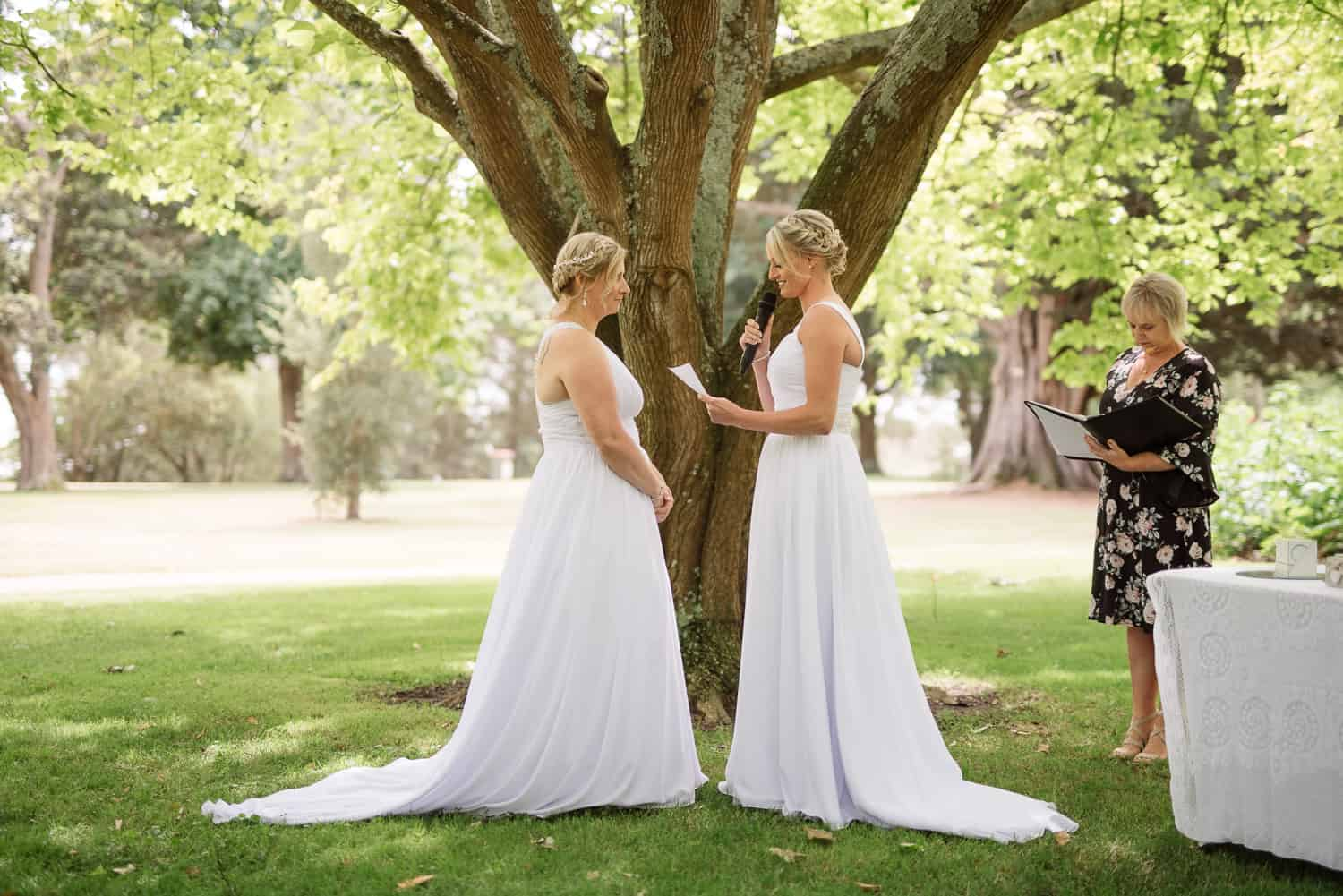 Same sex wedding at Colac Botanic gardens