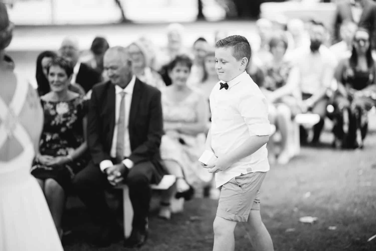Ring bearer at colac botanic gardens