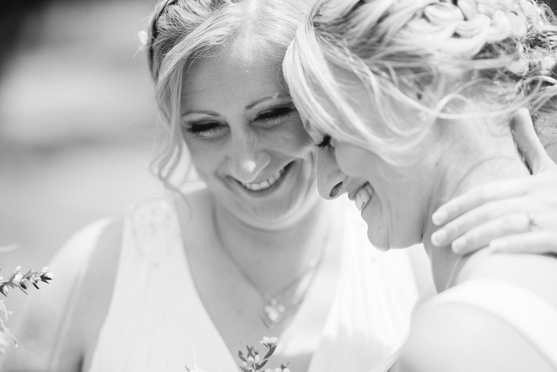 Happy brides at a same sex wedding