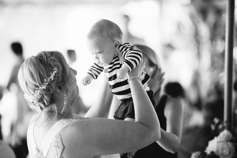 Baby at wedding reception