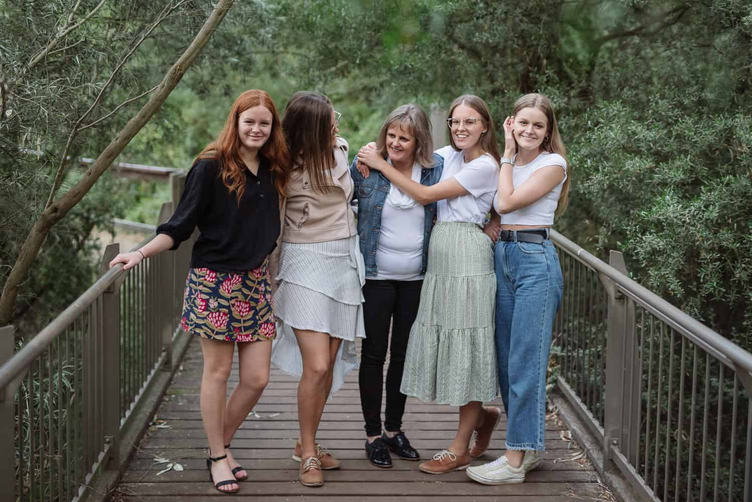 Girls with their mother in Geelong